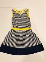 MINI BODEN Girl's Blue Striped Sweater Dress Flowers- Size 5/6- Retails $69