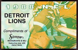 1988 DETROIT LIONS SILVERMANS RESTAURANT FOOTBALL POCKET SCHEDULE FREE SHIPPING