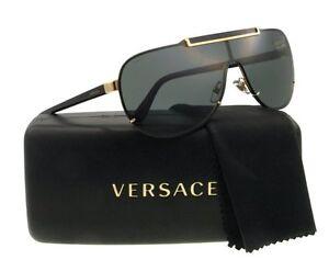 HOT NEW VERSACE Aviator Pilot Shield Gold Metal Sunglasses VE 2140 1002/87 214O