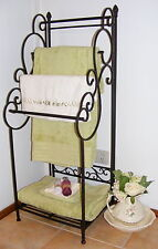 Large Wrought Iron Towel Rack Floor Free Standing Tall with Shelf - 4 Rail BA50