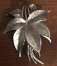 Vintage Costume Jewellery Signed Trifari Leaf Silver Tone Brooch Rare