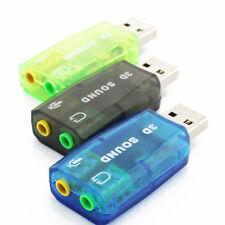 5.1 CH USB 2.0 To 3.5mm Adapter Audio Round Card Mic Jack Plug  Play Headphone