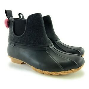 Skechers Women's Pond Staying Dry Waterproof Black Charcoal Duck Boots Size 9 M