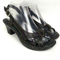 BORN Black Leather Heeled Sling Back Women's Sandals Size 7/38M