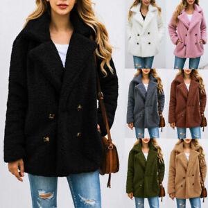Women Coat Teddy Bear Fleece Fluffy Coat Jackets Jumper Outwear Outfit Size 8-18