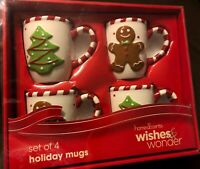 Belk Home Accents Wishes & Wonder Holiday 12 oz Mugs Set of 4 Gingerbread Tree