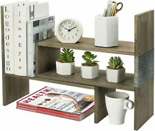 MyGift Rustic Brown Wood and Galvanized Metal Adjustable Tabletop Bookshelf