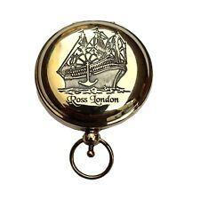 Nautical Ross London Push Button Brass Pocket Compass Antique Navigation Hiking