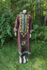 Vtg 60's 70's Embroidered Cotton Caftan Hooded Boho Maxi Dress Cocoa L NOS