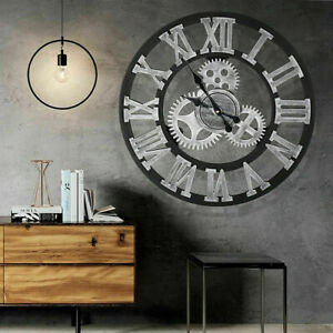 60CM ROUND EXTRA LARGE ROMAN NUMERALS VINTAGE WALL CLOCK BIG GIANT OPEN FACE