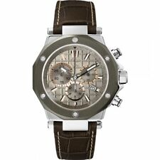 GUESS Collection X72026G1S Gents Brown Calfskin 44mm Stainless Steel Case Watch