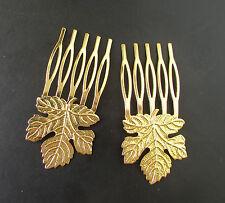 2x Gold Ahornblatt Haar Kämme Vintage Woodland Griechisch Braut Boho Klemme Halt