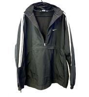Y2K Nike Windbreaker Jacket Black White Stripe Half Zip Jacket Mens XL