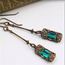 1 Pair Woman Vintage 925 Silver Jewelry Green crystal Charm Earring Pendant ~~