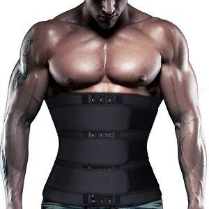 Men Sauna Waist Trainer Weight Loss Neoprene Corset Cincher Body Shaper w/3 Belt