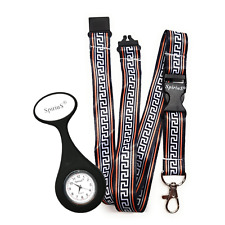 SpiriuS Fob Nurse Silicone Black Pocket Watch + Ancient Neck strap Lanyard