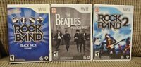 Nintendo Wii & Wii U Game Lot Rock Band 2, Track Pack Volume 1, Beatles Tested