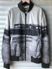 "G-Star Raw 'Yoshem' Mesh Bomber Jacket Ferry Print Grey Size M Chest 43"" New"