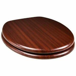 "New 18"" Mahogany Mdf Universal Bathroom Wc Toilet Seat Easy Fit Wooden W/C"