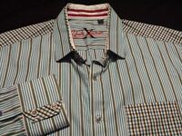 Robert Graham Mens Large Long Sleeve Button-Front Multicolor Striped Shirt