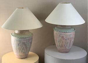 Pair Vintage Mid Century Modern Brutalist Tribal Pastel 1993 Casual Lamps Lamps