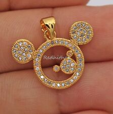 18K White Gold Filled - Mickey Mouse Topaz Zircon Hollow Party Pendant 2 Color
