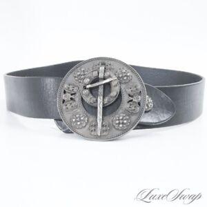 MASSIVE Dries Van Noten Made in Italy Black Incan Sundial Buckle Waist Belt 85