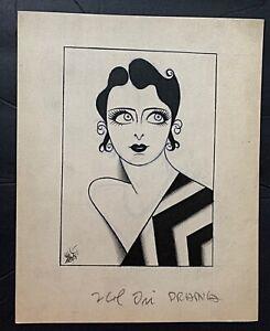 c1928 Original Illustration Art Disney Artist Joe Grant Stylish Portrait