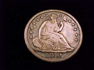 1840 Seated Liberty Dime, without Drapery, a Fine grade coin.