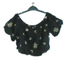 AEO Floral Crop Top M Black Short Sleeve