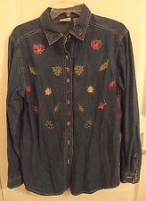 Bobbie Brooks Women's Denim Fall Theme Shirt SIZE Small 4/6  Embroidered Leaves