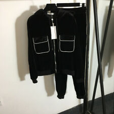 2021 Light Luxury Long Sleeve Jacket + Casual Pants Velvet Suit Black SML