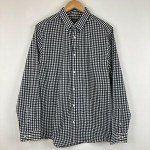 H&M Mens Button Up Shirt Size Large Black White Check Slim Long Sleeve 62.18
