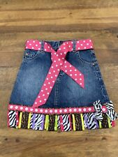 Girls Gold Rush Outfitters Denim Custom Skirt w/ Grosgrain Ribbons Size 4