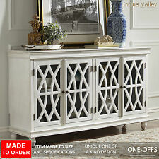 MADE TO ORDER French style arched white glass door sideboard buffet hutch