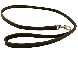 NEW HAND-CRAFTED BROWN LEATHER DOG LEASH LEAD TRAINING LONG CLIP