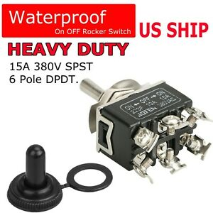 Waterproof 6pin DPDT Toggle Switch Boot Cap ON/OFF/ON Amp