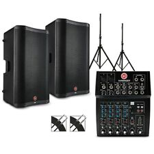 """Harbinger L802 Mixer w/Vari V2300 Series Speakers, Stands and Cables 15"""" Mains"""