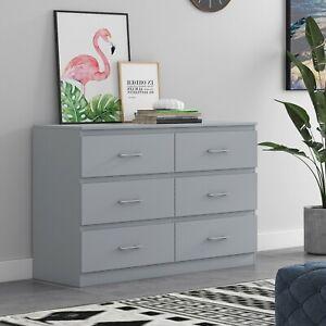 6 Drawer Chest of Drawers - Matt Grey - Tromso Modern Living Furniture