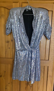 Zara Silver Ladies Jumpsuit / Shorts Play suit Size Xs Bnwot