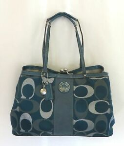 Coach Green Metallic Outlined Signature Monogram Purse As Is