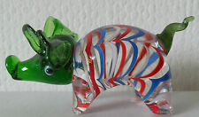 BRAND NEW HAND BLOWN GLASS GREEN HEADED  PIG ORNAMENT in BOX