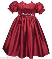 Stunning Ruby Red Silk Flower Girls Dress Holidays Pageants Christmas 17210.