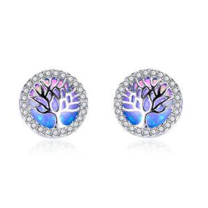 Tree of Life Round Cut Blue Fire Opal Gemstone Silver Woman Stud Hook Earrings