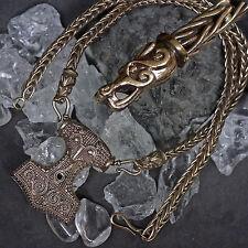 Wikingerkette Hand geflochten mit Thorhammer Schonenhammer aus Bronze Replikat