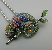 Betsey Johnson Mixed Color Crystal Gecko Lizard Pendant  Necklace/Brooch