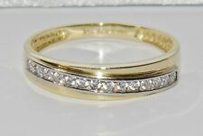 9ct Gold 0.15ct Ladies Eternity / Wedding Ring - size Q - UK Hallmarked
