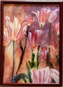 Flowers watercolor painting on paper with frame  direct buy from artist