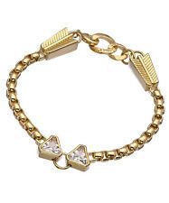 Roman Luxe 14k Gold-Plated Crystal Arrow Chain Bracelet $75 NEW