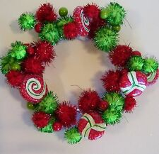 6 IN RED & WHITE GREEN POM POMS & BERRIES CANDLE RING SPRING WEDDINGS DECORATION